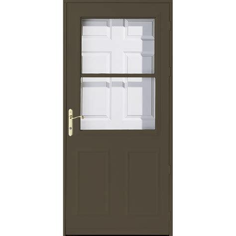 pella retractable screen door shop pella olympia brown high view safety retractable
