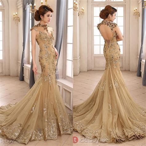wedding dresses with gold beading 2015 luxury gold mermaid wedding dress high neck sheer