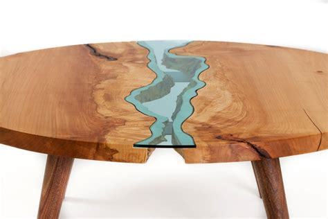 woodworking articles table topography wood furniture embedded with glass