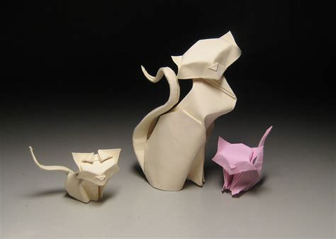 cat origami artist uses folding technique to
