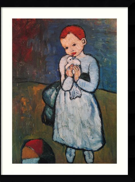 picasso paintings child with a dove child holding a dove summer 1901 framed print by