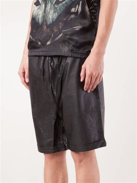 leather shorts sons of heroes faux leather shorts in black for lyst