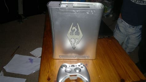 spray paint xbox 360 console my unique one of a silver skyrim logo xbox 360