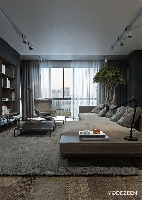 interior wood designs a and calming bachelor bad with wood and concrete