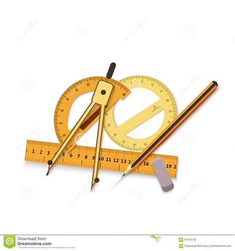 drawing tool with measurements engineering drawing on a blue background and tools to