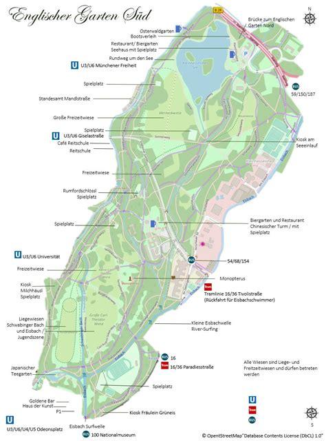 Englische Garten München Anfahrt by Englischer Garten M 252 Nchen Karte Und Plan 220 Bersichtskarte