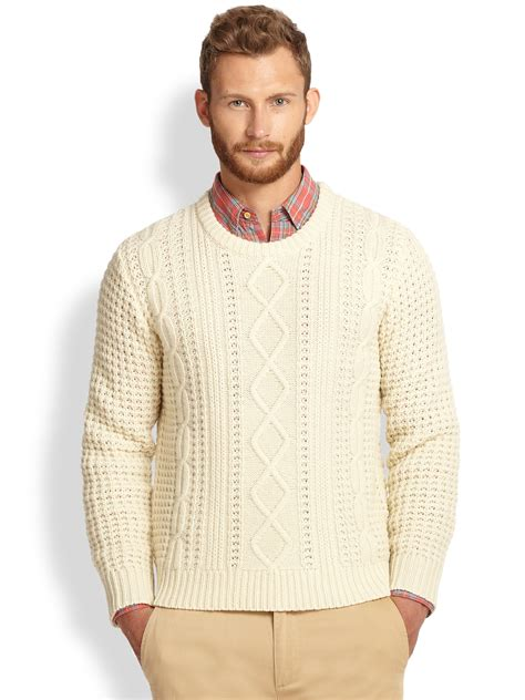 mens white cable knit sweater gant rugger lambswool cable knit sweater in white for