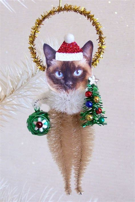 ornaments cats siamese cat ornament feather tree