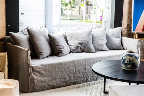 linen slipcovered sofa beautify your ikea sofa with custom skirt slipcovers