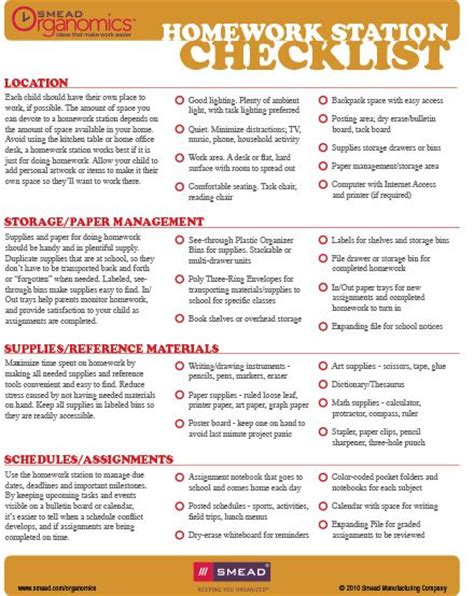 organization tips for college students checklist setting up a homework station back to school