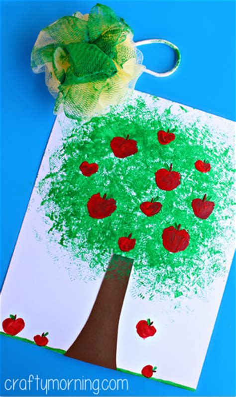 trees craft make an apple tree craft using a pouf sponge crafty morning