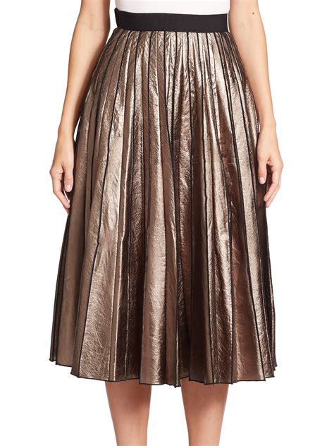 leather pleated skirt marc metallic leather pleated skirt in brown gold lyst