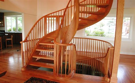 Reclaimed Spiral Staircase by Hand Crafted Graceful Red Oak Two Story Tight Spiral Stair