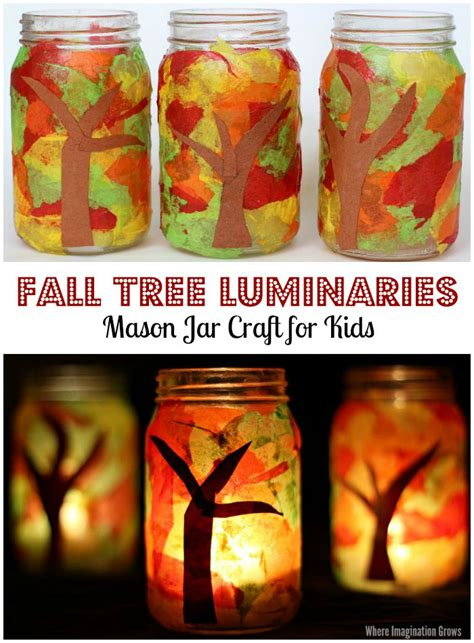 autumn craft projects jar fall luminaries craft where imagination grows