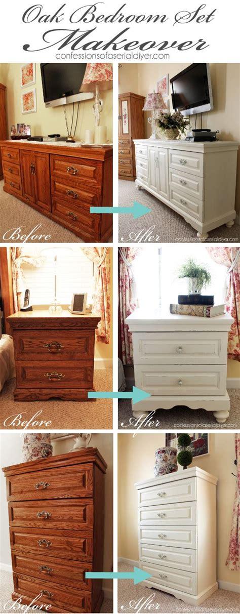 chalk paint bedroom set oak bedroom set painted in diy chalk paint the