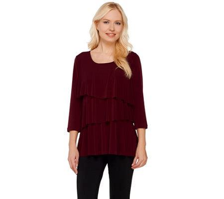 liquid knit tops susan graver liquid knit tiered 3 4 sleeve top qvc