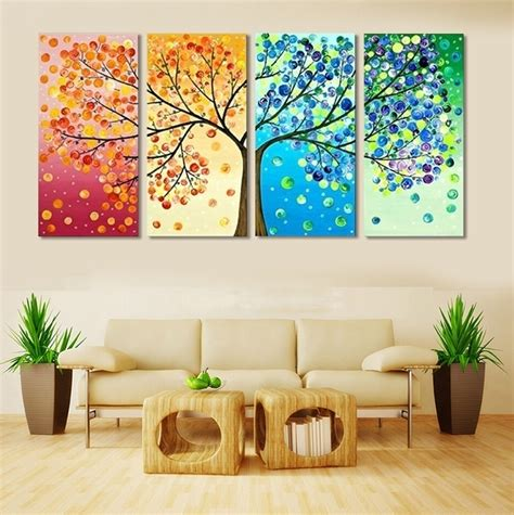 aliexpress buy 4 frameless colourful leaf trees canvas painting wall spray wall
