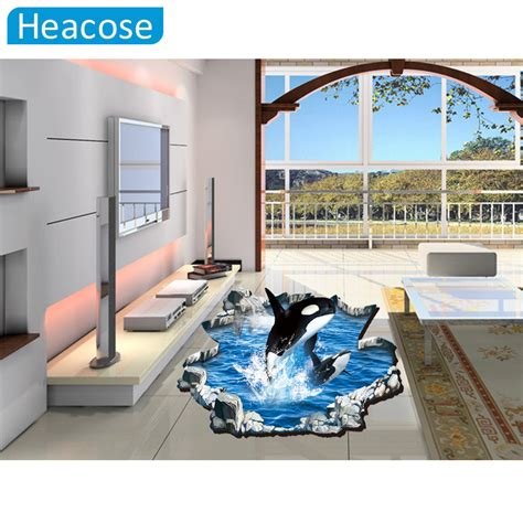 whale wall stickers dolphin whale jumping floor 3d sticker wall sticker 60