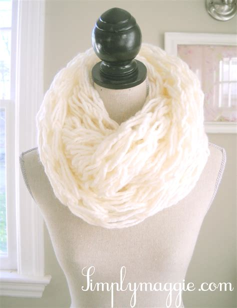 knitted white scarf more arm knitting creations simplymaggie