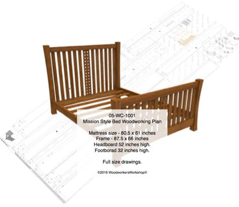 mission style woodworking plans 05 wc 1001 mission style bed woodworking plan