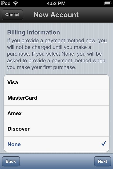 can you make an itunes account without a credit card access denied