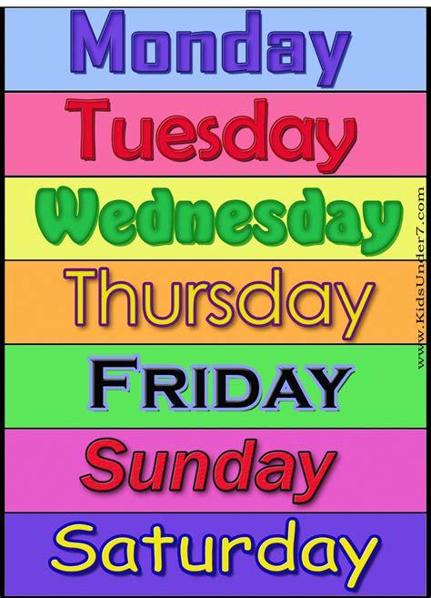 days of the week cards pixshark com images