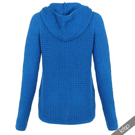 womens knitted hoodie womens chunky knitted hooded top zip up jumper sweater
