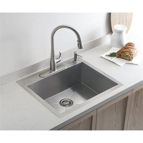 single kitchen sink kohler vault medium single 635mm x 559mm brushed steel