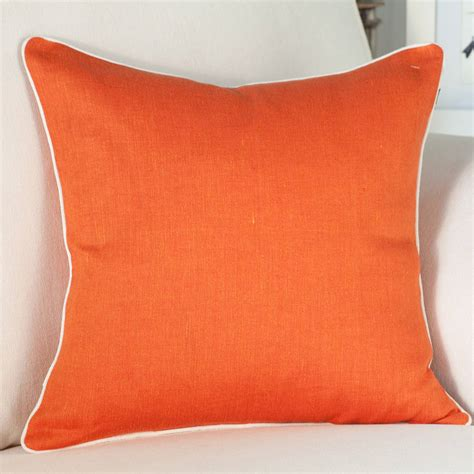 orange cusions orange linen cushion cover with piping by jodie