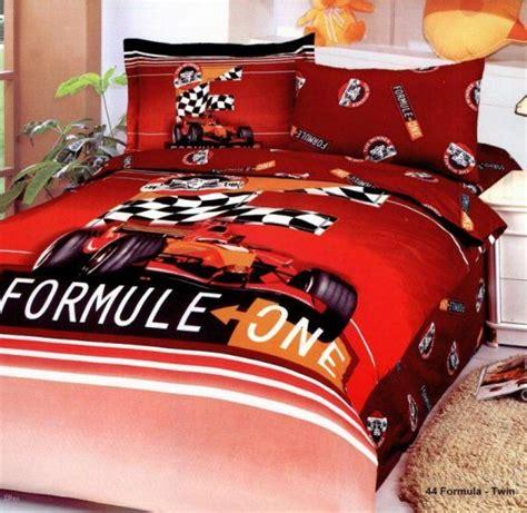 edredon ferrari red formula 1 race car boys bedding twin duvet covers set