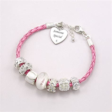 Pink Leather Engraved Charm Bead Bracelet Charming Engraving