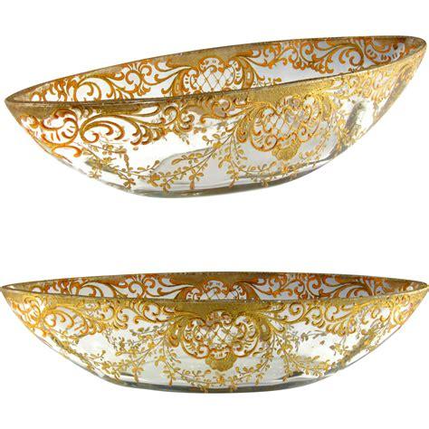large chagne glass centerpiece large antique cut glass painted raised gilt enamel