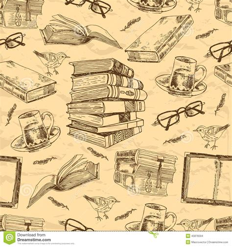 pattern picture books vintage books seamless pattern stock vector image 45876594