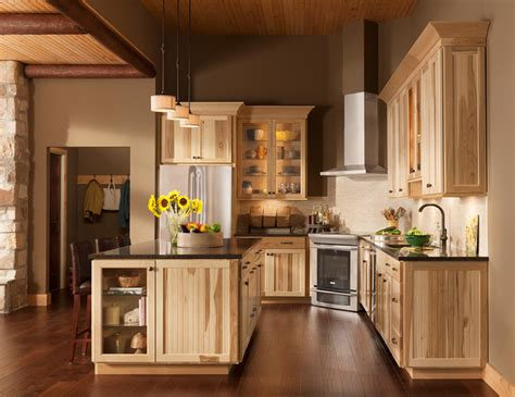 american woodwork cabinets the lodge look rustic charm of shorebrook hickory rustic