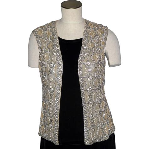 beaded vest vintage 1960s royal beaded vest made in