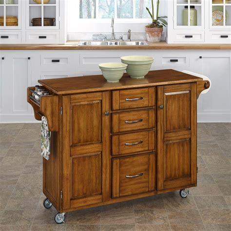 kitchen island carts home styles create a cart warm oak kitchen cart with towel bar 9100 1066g the home depot