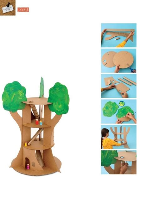 treehouse kid and craft cardboard tree house craft for
