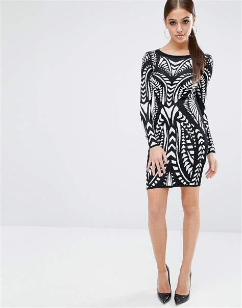 lipsy knitted dress image 4 of fleur east by lipsy knitted bodycon dress in print