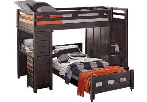 bunk with desk creekside charcoal step bunk bed with desk