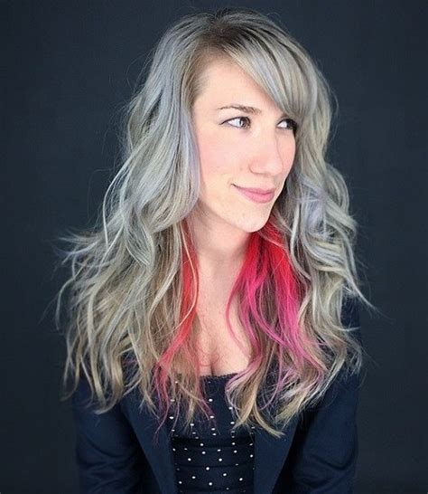 pictures of grey hairstyles with pink highlights 60 super chic hairstyles for long faces to break up the length
