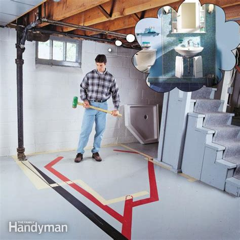 installing a bathroom in a basement how to plumb a basement bathroom the family handyman
