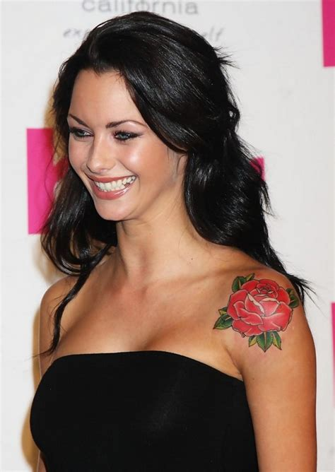 jessica jane clement s tattoos flower tattoo on upper