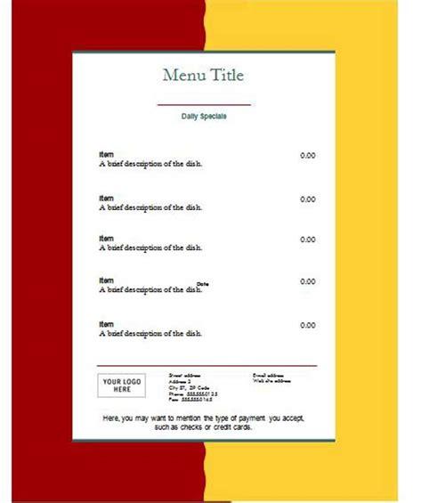 free restaurant menu templates microsoft word templates