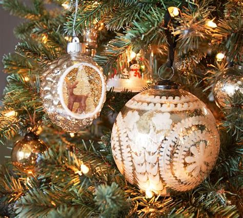 pottery barn ornaments etched mercury glass ornaments silver pottery barn