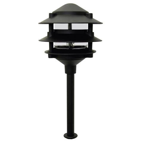 moonrays low voltage 11 watt pagoda style black outdoor 3 tier metal path light 95725 the home