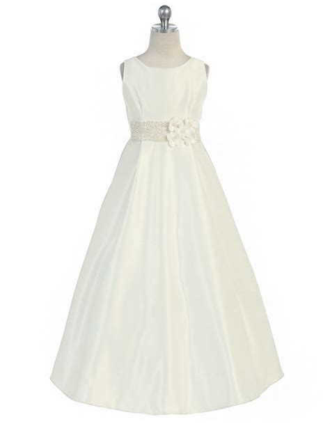 ivory beaded dress ivory satin a line dress w flowers beaded waistline