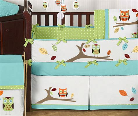 baby boy owl crib bedding modern owl tree theme unisex boy baby crib bedding