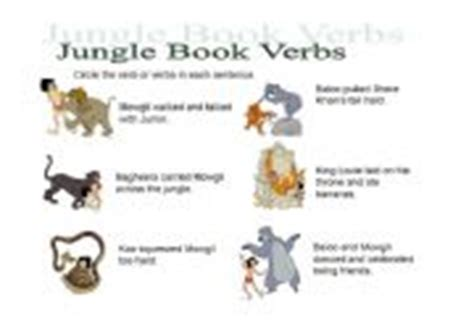 jungle book characters names and pictures worksheets jungle book verbs