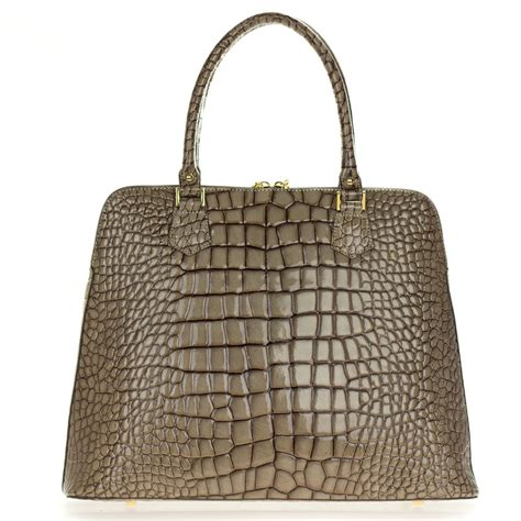 croc embossed leather handbags giordano italian made crocodile embossed taupe patent leather large tote handbag