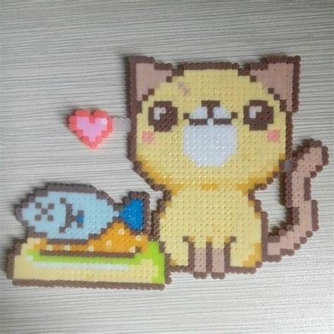 perler bead cat cat perler by yao0405 krisluhan hama